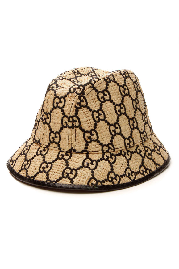 Gucci GG Embroidered Raffia Bucket Hat - Beige/Black Size M