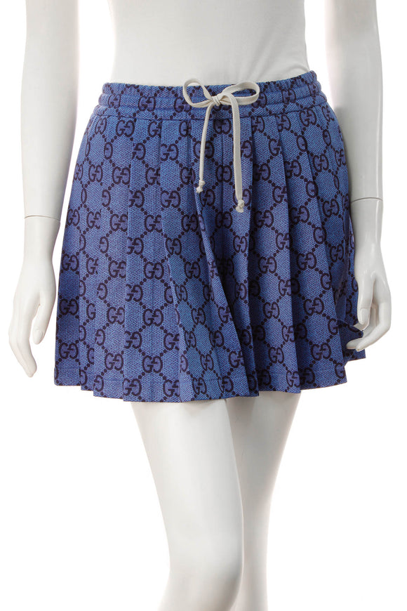 Gucci Pleated Technical Jersey Shorts - Blue Size Extra Small