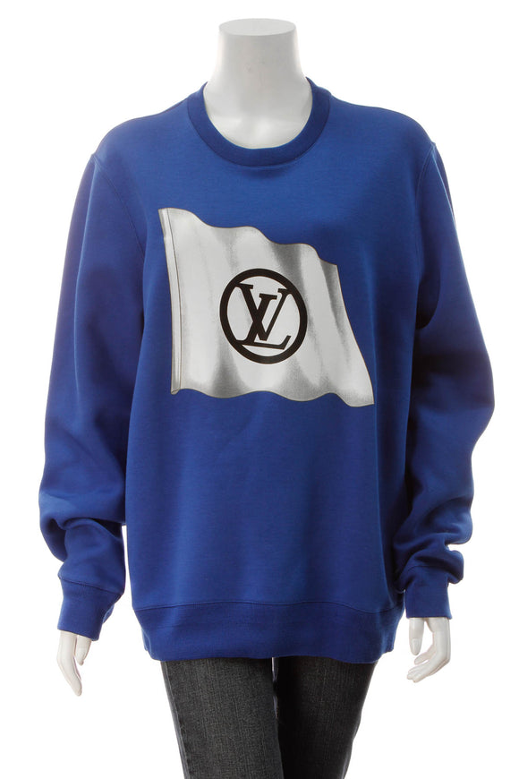 Louis Vuitton Flag Logo Print Sweatshirt - Blue Size Extra Large