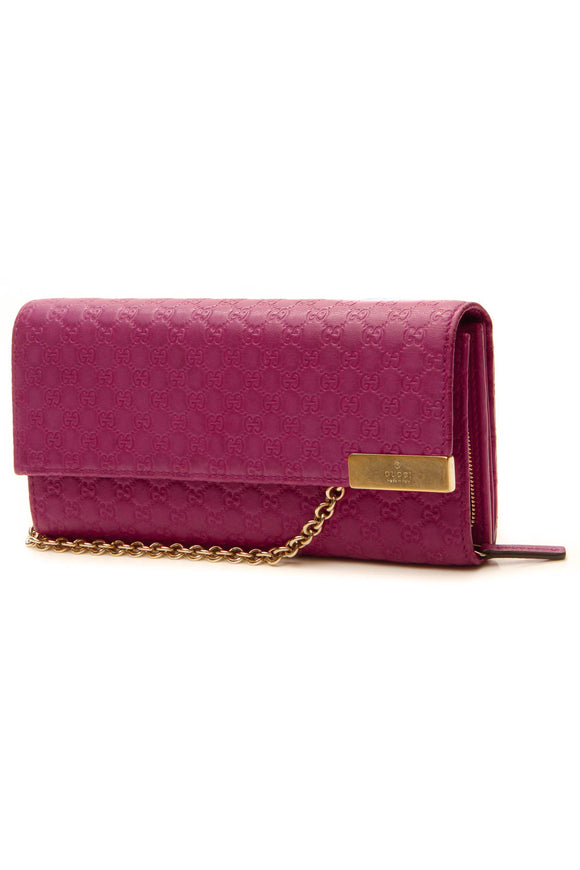 Gucci Signature Wallet on a Chain - Fuschia Microguccissima