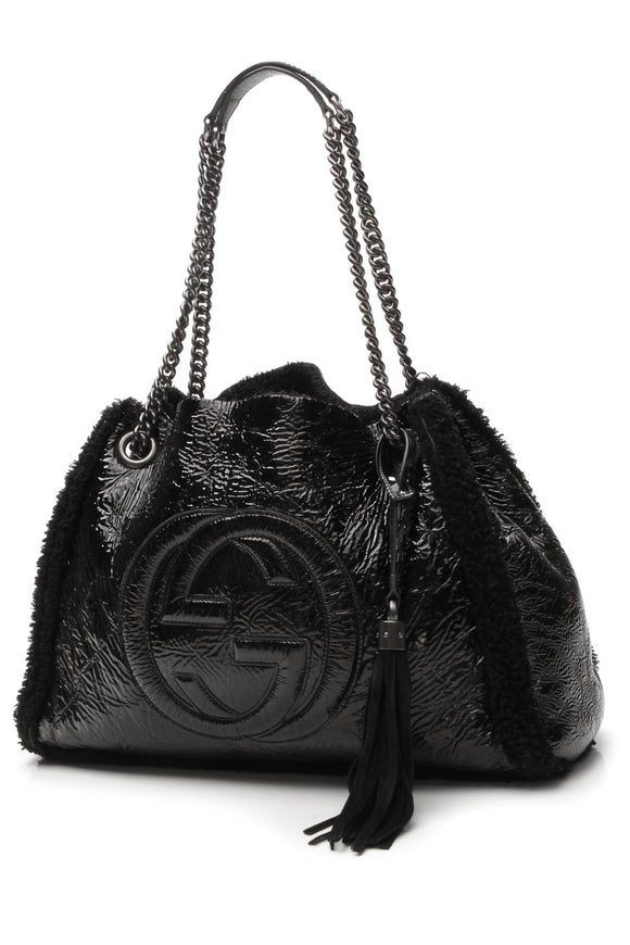 Gucci Shearling Soho Chain Tote - Black
