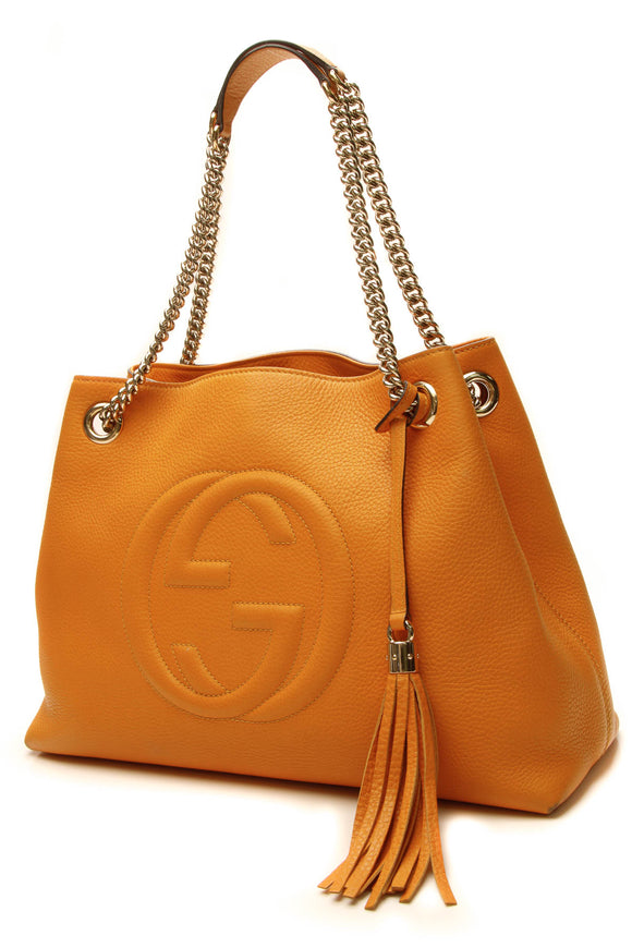 Gucci Soho Chain Tote Bag - Orange
