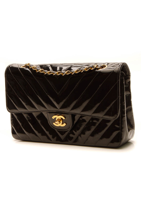 Chanel Vintage Chevron Medium Double Flap Bag - Black