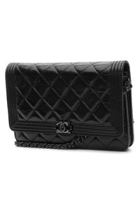 "Chanel ""So Black"" Boy Wallet on a Chain Bag - Black"