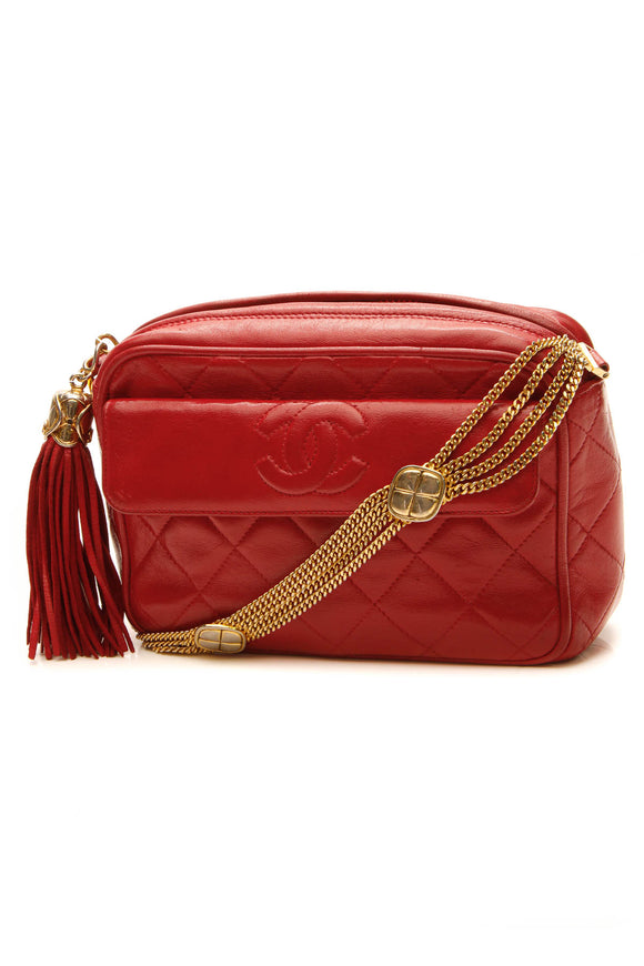 Chanel Vintage Quilted Camera Bag - Red