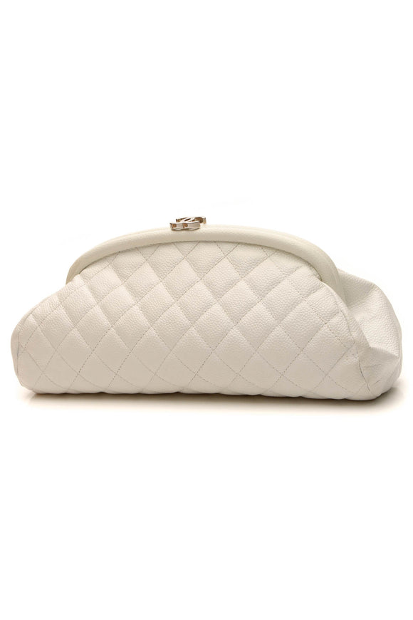 Chanel Quilted Timeless Clutch Bag - White