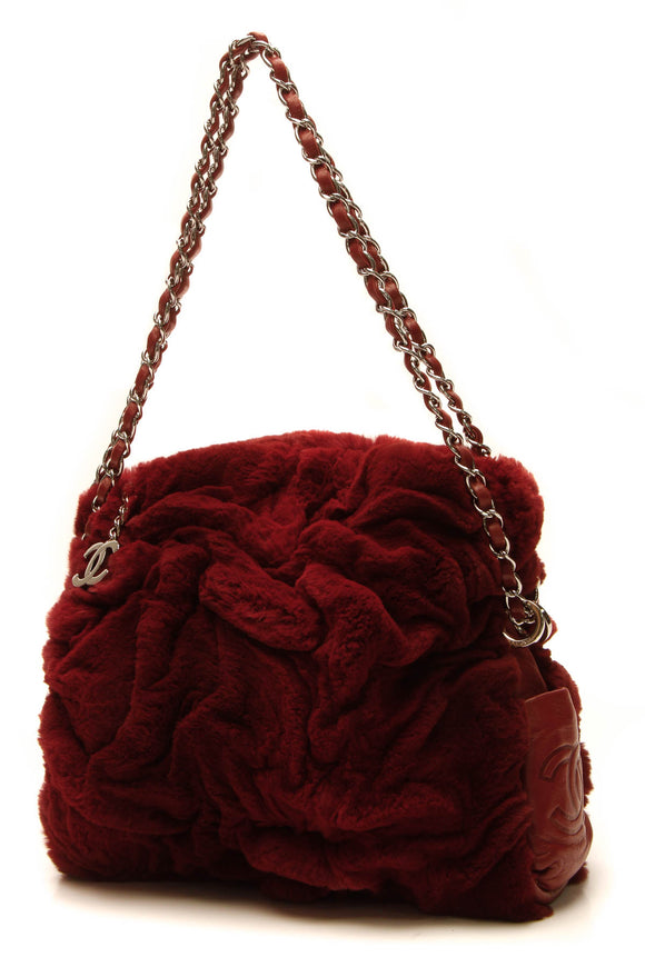 Chanel Rabbit Fur Shoulder Bag - Red