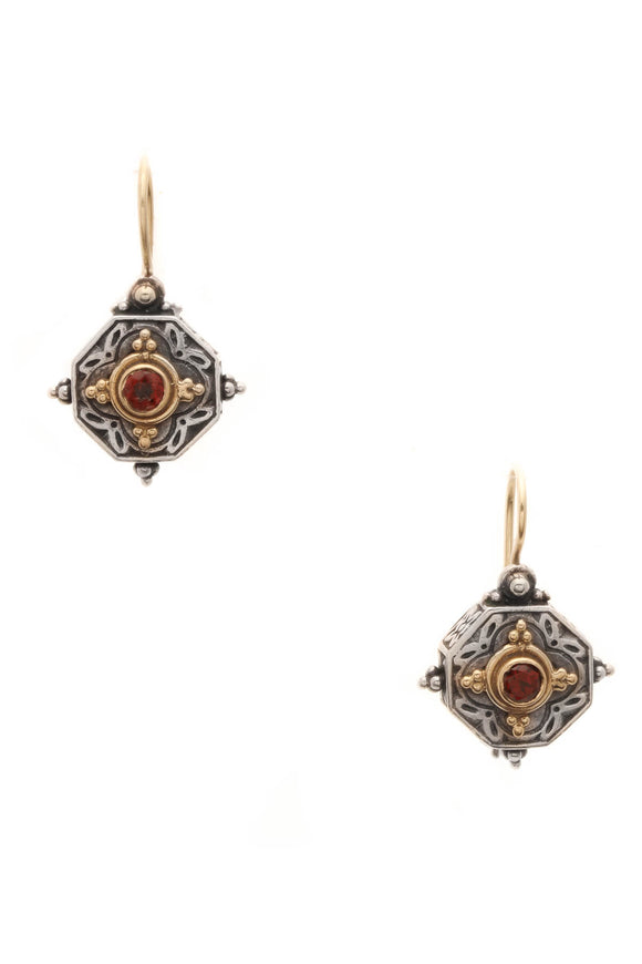 Konstantino Garnet Drop Earrings - Silver/Gold