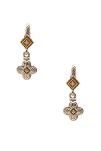 Judith Ripka Fleur Diamond Drop Earrings - Silver/Gold