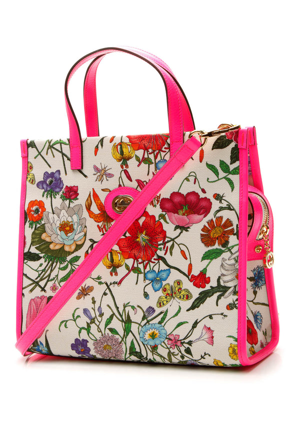 Gucci Flora Medium Tote Bag - Fuchsia