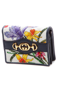 Gucci Interlocking GG Flora Compact Wallet - Navy