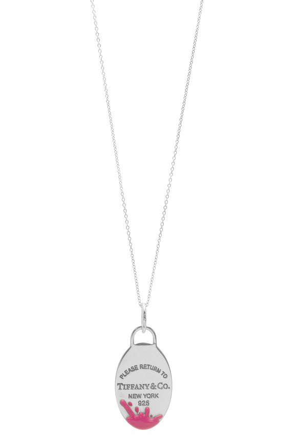 Tiffany & Co. RTT Return To Tiffany Color Splash Oval Tag Necklace - Silver