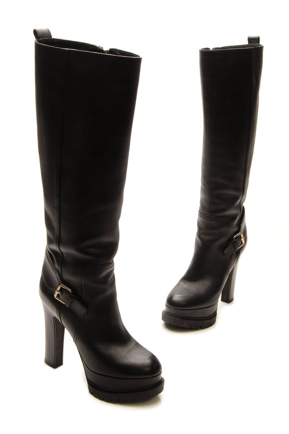 Louis Vuitton Buckle Knee High Boots - Black Size 36.5
