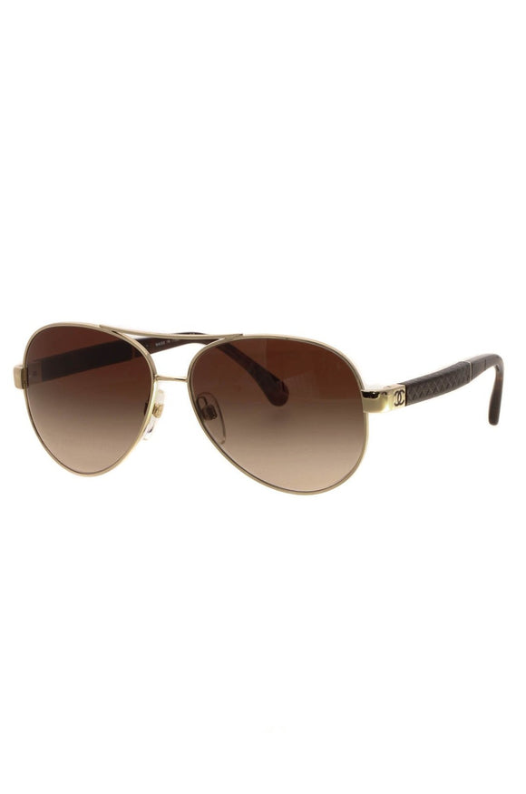 Chanel CC Quilted Aviator Sunglasses - 4195-Q Gold/Brown