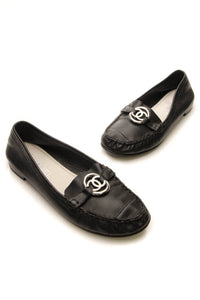 Chanel CC Loafers - Black Size 39.5