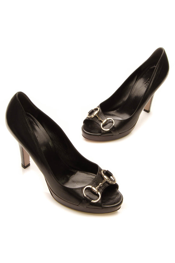 Gucci Horsebit Peep-Toe Pumps - Black Size 8.5