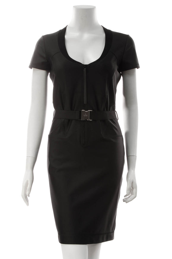 Gucci Belted Bodycon Dress - Black Size Medium