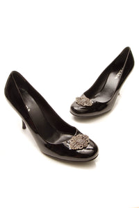 Prada Crystal-Embellished Pumps - Black Patent Size 38.5