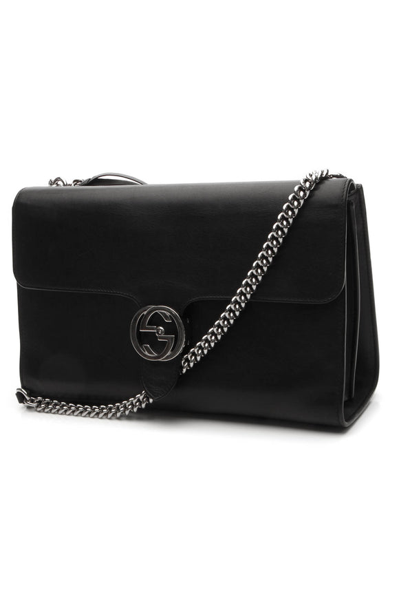 Gucci Interlocking GG Shoulder Bag - Black
