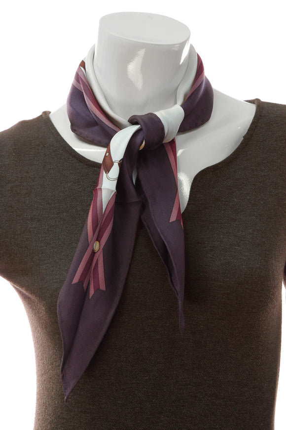 Gucci Horsebit Diamond Shaped Scarf - Purple/White