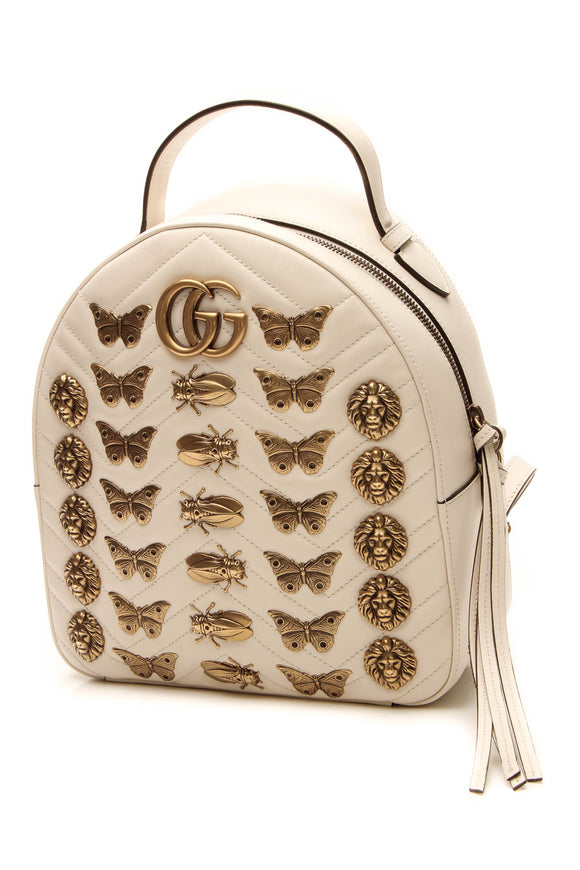 Gucci Animal Studs Marmont Backpack - White