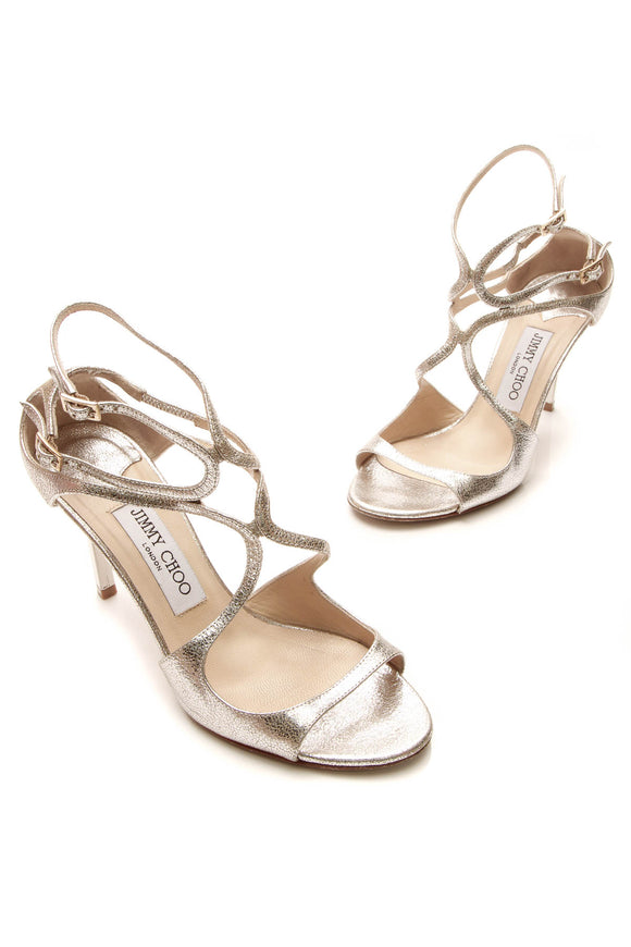 Jimmy Choo Ivette Glitter Heeled Sandals - Metallic Champagne Size 36.5