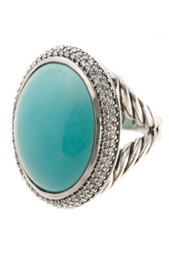 David Yurman Diamond & Turquoise Signature Oval Ring - Silver Size 6