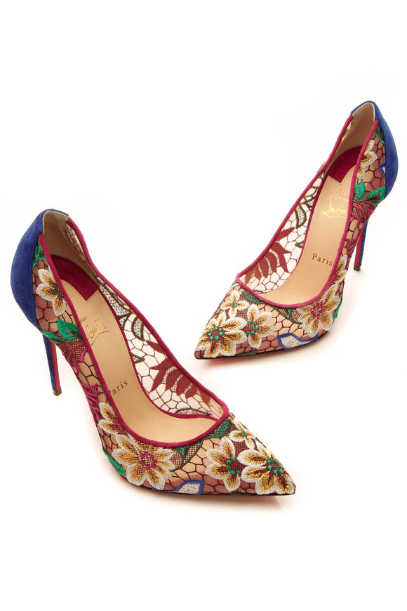 Christian Louboutin Florale Follies Lace 100 Pumps - Multicolor Size 41