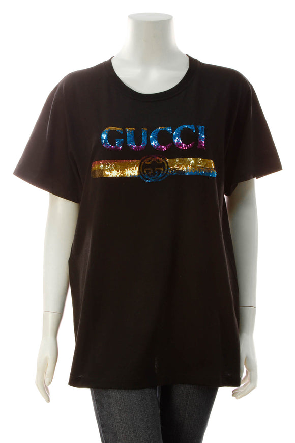 Gucci Oversized Sequin Logo T-Shirt - Black Size Medium