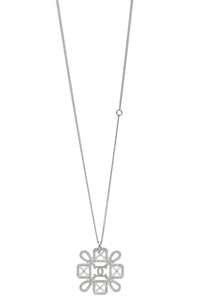 Chanel CC Snowflake Necklace Silver