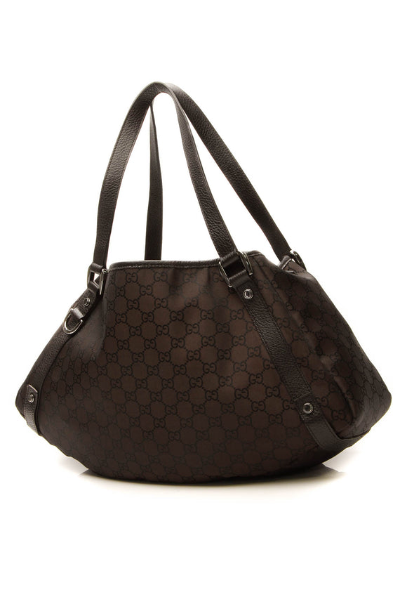 Gucci Abbey Medium Tote Bag Brown GG Nylon