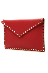 Valentino Rockstud Envelope Pouch - Red