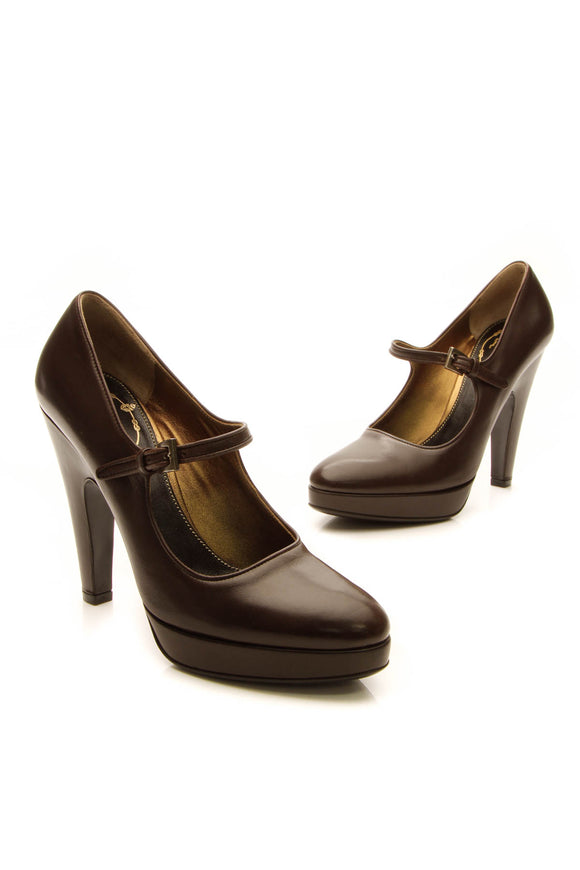 Prada Mary Jane Pumps - Dark Brown Size 35.5