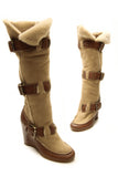 Fendi Rabbit Fur Wedge Boots - Oak/Camel Size 35