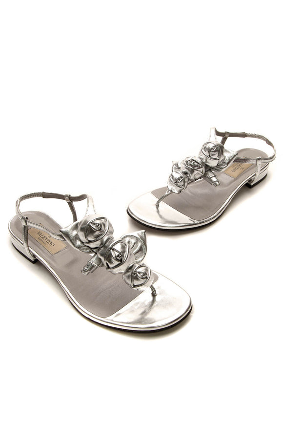 Valentino Rose T-Strap Thong Sandals - Silver Size 35