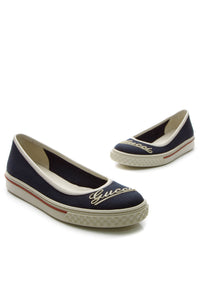 Gucci Script Flat Sneakers - Navy Size 35