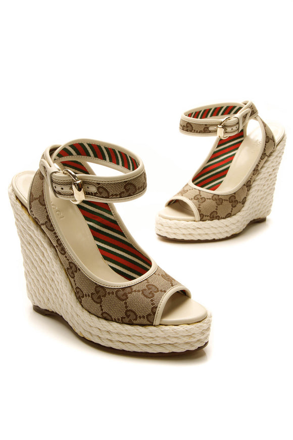 Gucci Lifford Rope Wedges - Signature Canvas/White Size 5