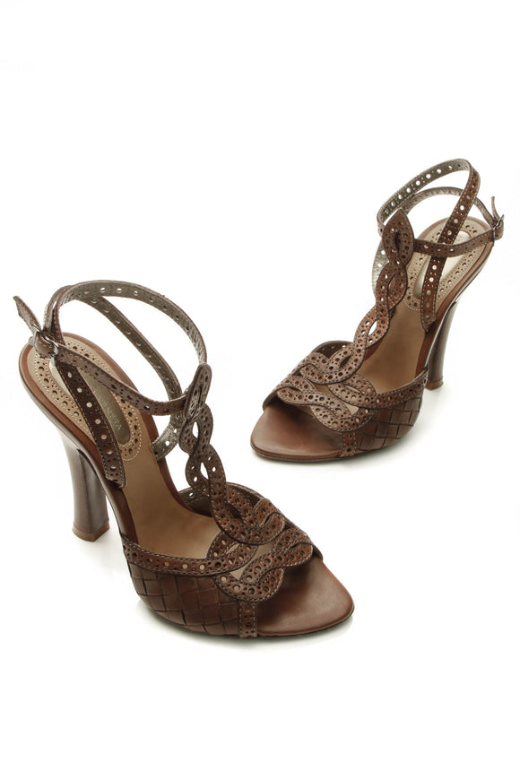 Bottega Veneta Intrecciato & Perforated Sandals - Brown Size 35