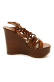 Yves Saint Laurent Strappy Platform Wedge Sandals - Brown Size 35