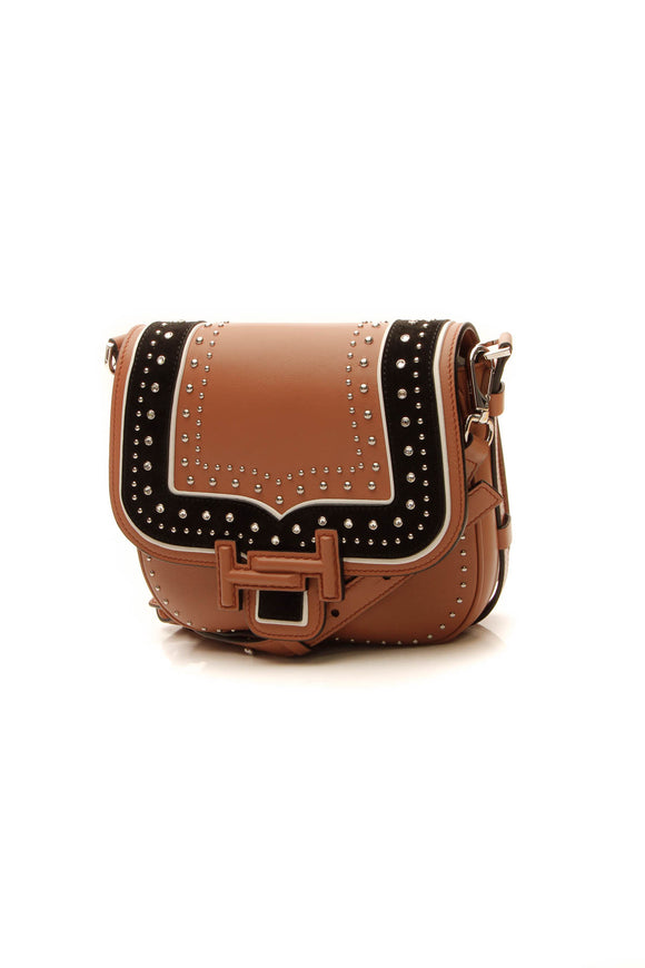 TOD'S Double T Studded Crossbody Bag - Tan/Black