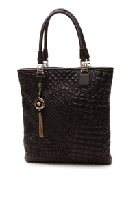 Versace Quilted Barocco North/South Tote Bag - Black