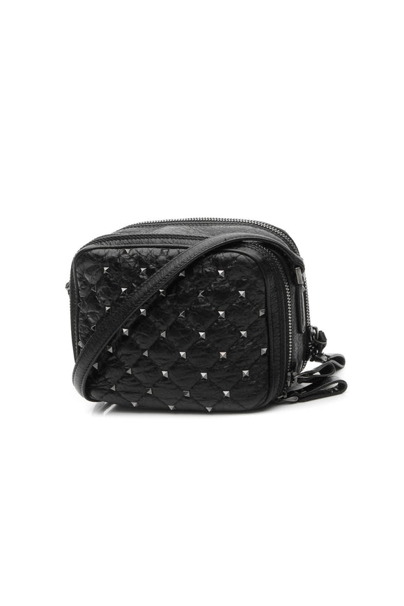 Valentino Rockstud Double Zip Camera Bag - Black