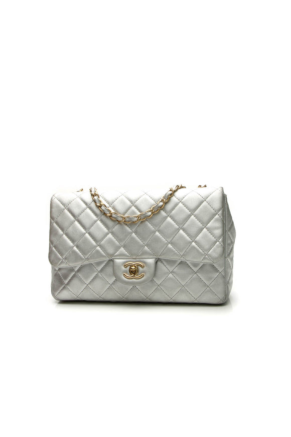 Chanel Classic Jumbo Single Flap Bag - Silver