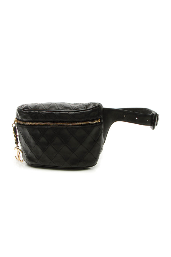 Chanel Vintage Quilted Belt Bag - Black