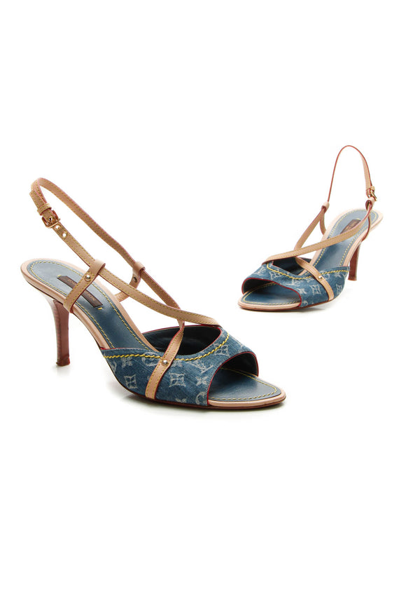 Louis Vuitton Strappy Heeled Sandals - Monogram Denim Size 38.5