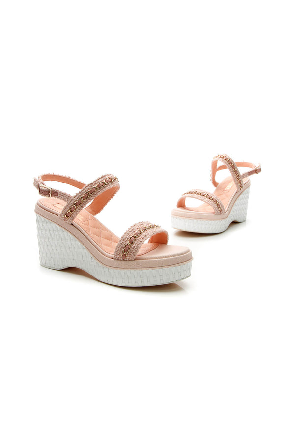 Chanel Tweed Wedge Sandals - Light Pink Size 40