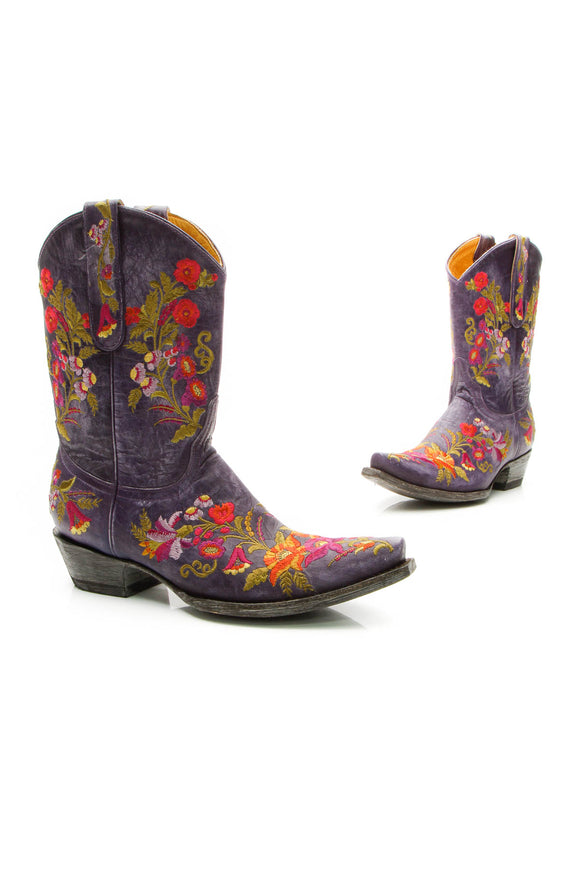 Old Gringo Embroidered Jasmine Boots - Violet Size 8