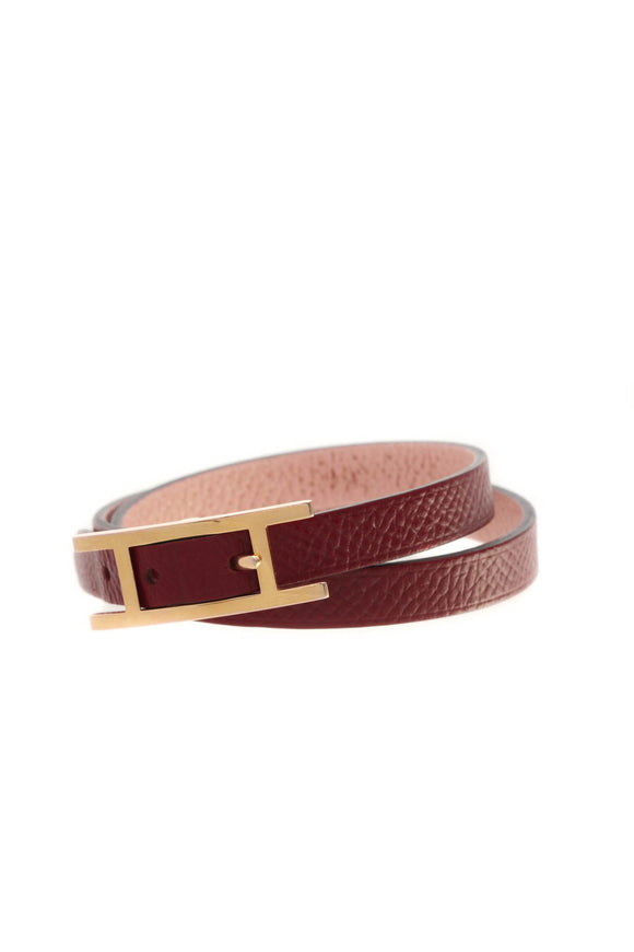 Hermes Behapi Double Tour Bracelet - Rouge Grenat/Rose Eglantine