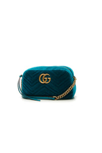 Gucci Velvet Marmont Small Shoulder Bag - Petrol Blue