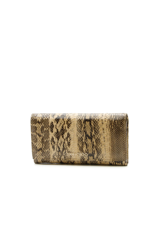 Jimmy Choo Python Flap Wallet - Tan